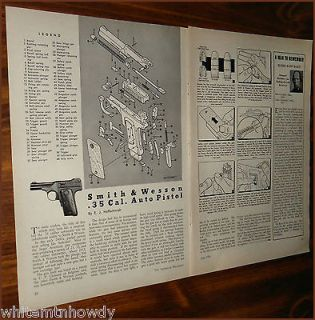 1956 SMITH & WESSON .35 Auto PISTOL Parts List~Assembly Article w