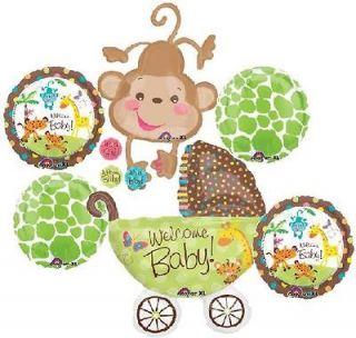 PRICE SAFARI ANIMAL MONKEY BABY SHOWER BALLOONS BOUQUET SUPPLIES LIME