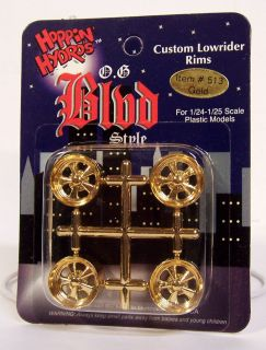 Hydros 1/24 1/25 scale Lowrider OG BLVD GOLD Wheels Rims Model Kit