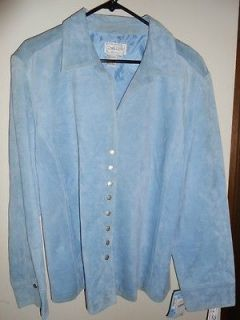 Live A Little Baby Blue Suede Leather Jacket 2X Perfect Condition