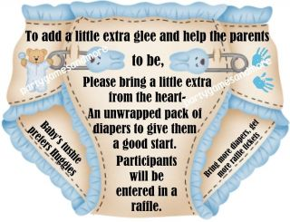 DIAPER RAFFLE TICKETS BABY SHOWER INVITATION INSERTS FAVOR