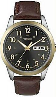 TIMEX MENS T2N106 LEATHER STRAP NIGHT LIGHT CALENDAR WR.30M WATCH NEW