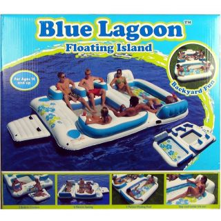 Sofina Blue Lagoon Floating Island Huge 6 Person Pool Float