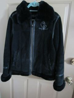 BABY PHAT Size L Genuine SUEDE Leather Logo JACKET Coat FAUX FUR