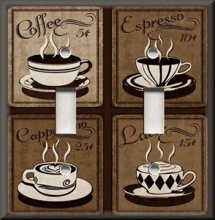 Light Switch Plate Cover   Vintage Cafe Coffee For Sale   Brown