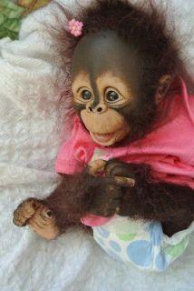 OOAK Reborn monkey orangutan baby Girl art doll original newborn