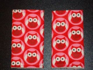 LITTLE RED OWLS on PINK & RED Baby Car Seat Strap Covers