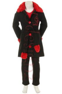 BABY PHAT RED GRAY PINSTRIPE PEA COAT PANTS SET