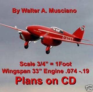 CONTROL LINE SCALE MODEL AIRPLANE PLANS De HAVILLAND 88 COMET PLANS
