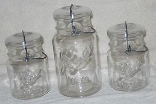 Vintage 2 Ball Pint Wire Bail Jars and 1 Quart with glass lids No. 5