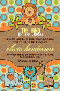 Baby Shower Invitations King Of The Jungle Lion Giraffe Custom