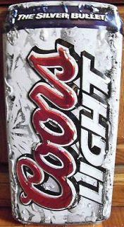 Beer Die Cut Can Silver Bullet Embossed Bar Brewery Metal Tin Sign