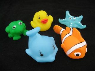 Newly listed 5 Pcs Baby Bath Toy Yellow Duck Frog Dolphin Clown Fish