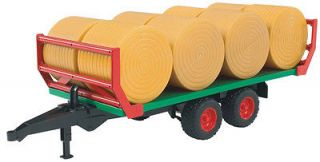 BALE TRANSPORT TRAILER 8 ROUND BALES PLASTIC TOY REPLICA BNIB 02220