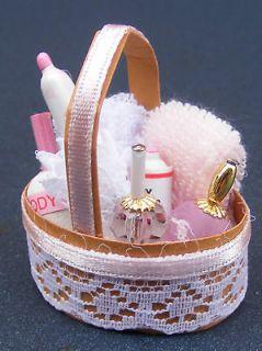 12 Scale Pink Bathroom Accessories Set Dolls House Miniature Bedroom