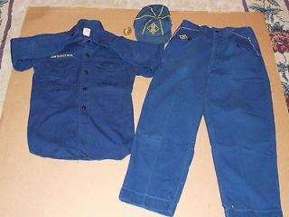 Vintage Youth Size Cub Scouts Official B.S.A. Hat,Shirt,Pant s Uniform
