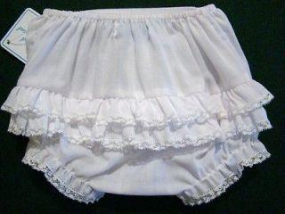 BABY GIRLS PINK OR WHITE BATISTE NEWBORN DIAPER COVERS W/RUFFLES
