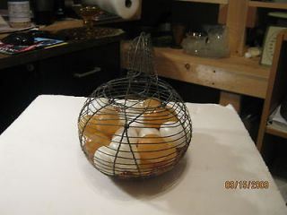 Vintage Wire Egg Basket With Handle And 12 Plastic Eggs