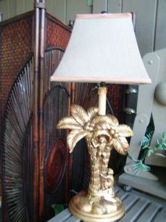 MONKEY PALM TREE table LAMP 29 lighting GOLD SCULPTED MONKIES light