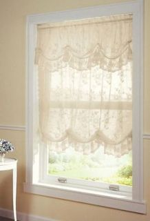 New Ivory Lace Adjustable Gathered Balloon Shade Curtain W/ Valance