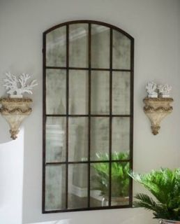 Extra Large Antiqued WINDOW Arch MIRROR Wall Leaner 82 Oversize
