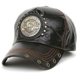 Ball Trucker Baseball Cap Leather Style Hat WRK BLACK