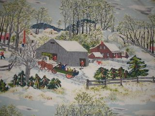 VTG GRANDMA MOSES EARLY SPRINGTIME ON THE FARM NUBBY BARKCLOTH DRAPE