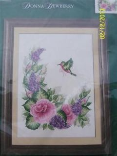 BUCILLA DONNA DEWBERRY HUMMINGBIRD & FLORAL COUNTED CROSS STITCH KIT
