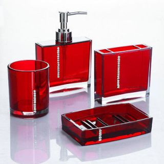 diamond bathroom accessories set red colour / shower curtain