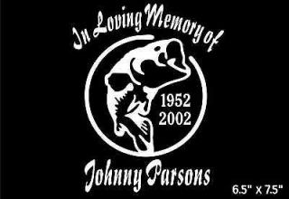 In Loving Memory with large mouth bass fish fishing car boat sticker