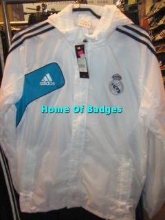 REAL MADRID 2012 13 SOCCER FOOTBALL TRAINING ALL WEATHER JACKET WHITE
