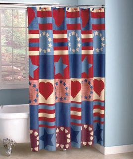 American Country Shower Curtain Red, White & Blue Patriotic Decor New