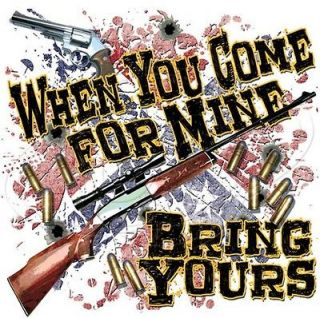 shirt MED. white dixie rebel southern gun bullet when you come for