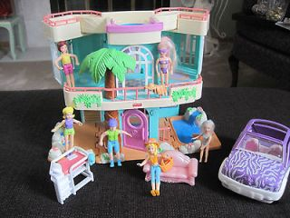 fisher price sweet streets beach house with car, people and extras
