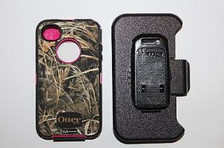 OTTERBOX DEFENDER CASE & BELT CLIP IPHONE 4 4S PINK SHELL & REAL TREE