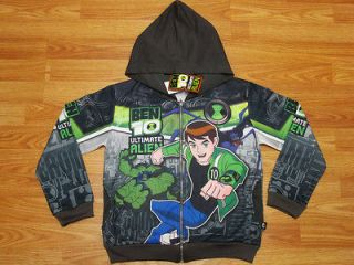 Ben 10 Ultimate Alien Hooded Jacket #987 Charcoal Size 12 age 10 12
