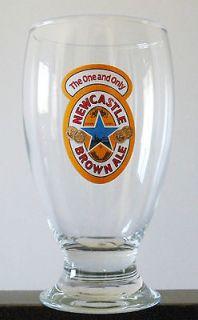 Set of 2 NEWCASTLE BROWN ALE SCHOONER PINT BEER GLASSES 16oz