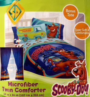 SCOOBY DOO TWIN COMFORTER SHEETS DRAPES 5PC BEDDING SET NEW