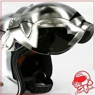 Chrome Bubble Shield Visor Face Mask & Base for Open Face Helmets