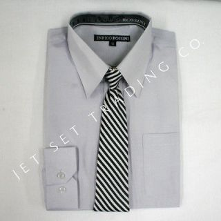 BOYS SILVER LONG SLEEVE DRESS SHIRT WITH MATCHING TIE (NEW, Sizes 4
