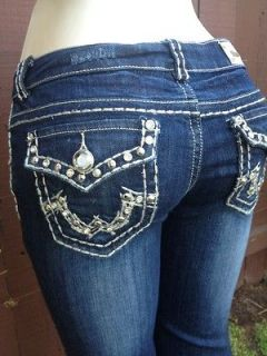 LOOK NWT MISS CHIC Hot Becky Religion Rhinestone Jeans SIZE 1/25 Sexy