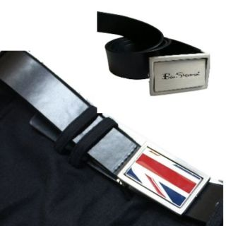 BEN SHERMAN BLACK LEATHER BELT SPIN BUCKLE UNION JACK LOGO   2 BELTS