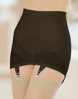 Firm Control BLACK Open Bottom Girdle Garter Belt w/6 Garters 2X 34