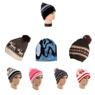 selection of patterned beanie hats in a variety of colours and