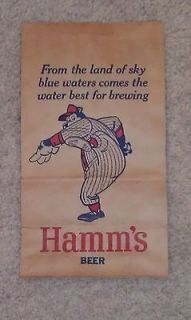 Sky Blue Water Double Sided Hamms Bear Beer Sign on a Bag Check out