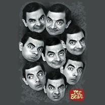Licensed Mr. Bean Many Facial Expressions of Bean Tee Shirt Adult