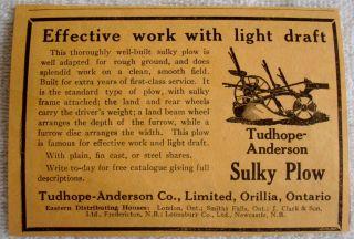 1923 ORILLIA ONTARIO SULKY PLOW FARMING AGRICULTURAL AD CANADA