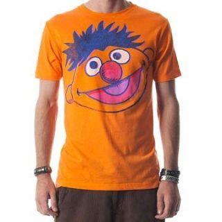 Sesame Street Show Bert Ernie Big Face Neon Orange Licensed Tee Shirt