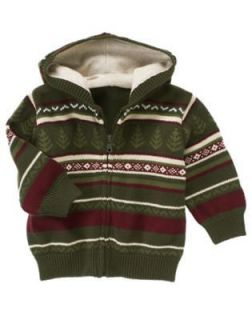 GYMBOREE GRIZZLY LAKE GREEN FAIR ISLE HOODED SWEATER 3 6 2T 3T 4T 5T