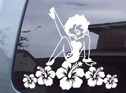 Betty Boop Hibiscus Hawaii Aloha Vinyl Decal Sticker